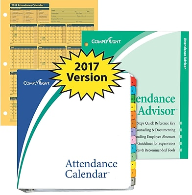 ComplyRight Attendance Calendar Kit, Yellow, Pack of 25