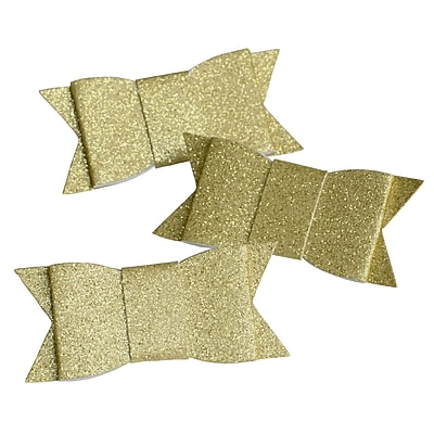 Gartner Studios, Gold Glitter Adhesive Bows, 12 Count, Gold, (18549)