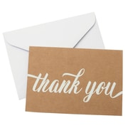 "Gartner Studios White on Kraft Thank You Card, 3.5"" x 5"", 50 Count"