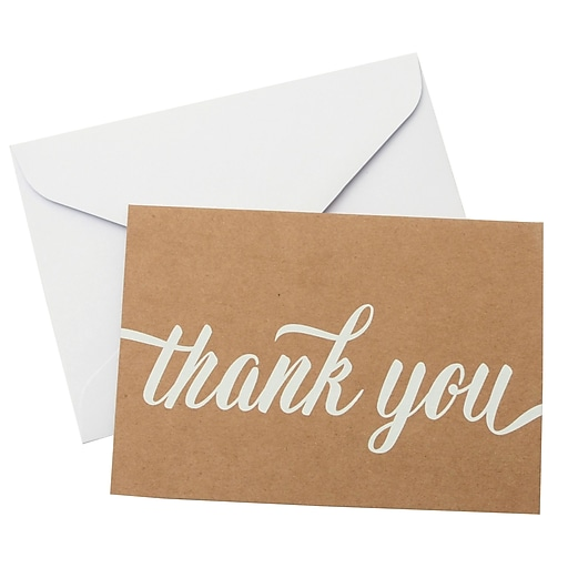 gartner studios white on kraft thank you card 50 count 5 x 7