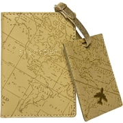 Eccolo Map Print Travel Gift Set with Passport Case and Luggage Tag