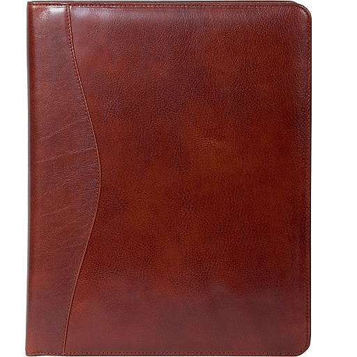 e15b763918 Scully® Genuine Italian Leather Letter Size Padfolio, Mahogany Brown |  Staples