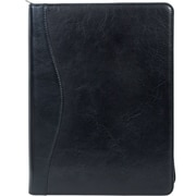 Scully® Genuine Italian Leather Zip Letter Size Padfolio, Black