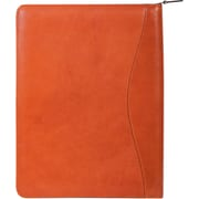 Scully® Genuine Italian Leather Zip Letter Size Padfolio, Sunset Orange