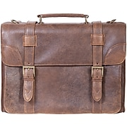 Scully® Genuine Lamb Leather Satchel Briefcase, Antique Brown