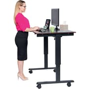 "Luxor 48"" Electric Standing Desk, Dark Walnut Top, Black Base"