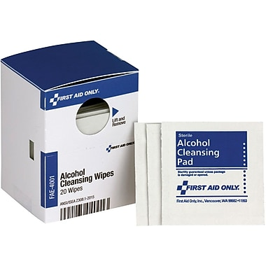 First Aid Only® SmartCompliance® Refill Alcohol Wipes, 20 Per Box (FAE-4001)