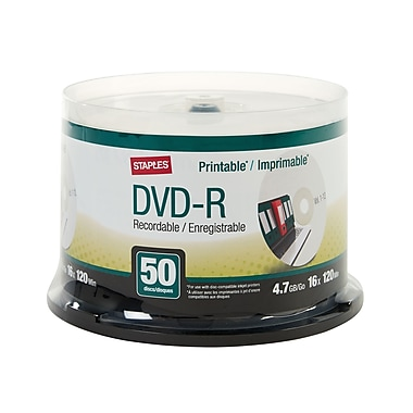 Staples 4.7GB Printable DVD-R, Spindle, 50/Pack