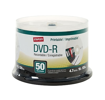 Staples 4.7GB 16X Inkjet Printable DVD-R Spindle, 50/Pack (50599)