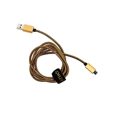 Cynthia Rowley, Nylon Braided Micro USB Charge & Sync Cable,5 feet, Black/Gold with Cable Organizer Wrap (CR-ST-CT1106BD)