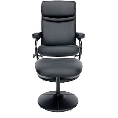 Essentials by OFM ESS-7000 Leather Recliner and Ottoman, Black