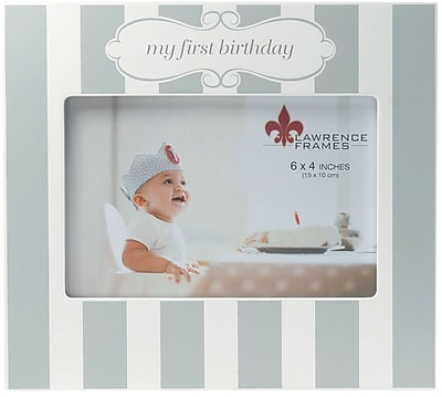 4x6 My First Birthday Blue and White