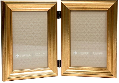 4x6 Hinged Double Sutter Burnished Gold Picture Frame