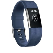 Fitbit Charge 2 Activity Tracker, Blue Silver, Large