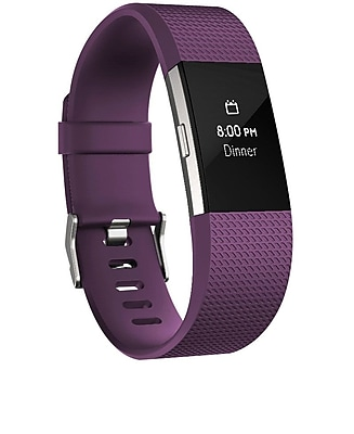 Fitbit Charge 2 Activity Tracker, Plum Silver, Large
