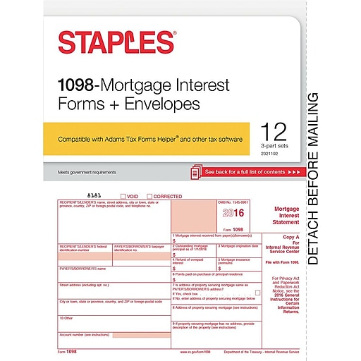 Staples 2016 Tax Forms 1098 Mortgage Interest Envelopes 12 Pack