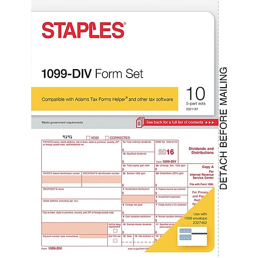 Staples 2016 Tax Forms 1099 Div 10 Pack Staples