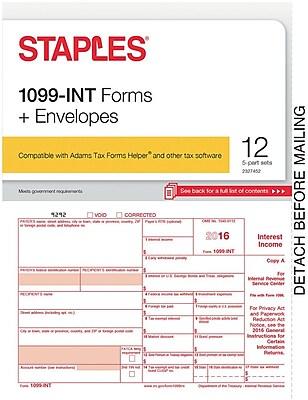 Staples 2016 Tax Forms, 1099 Interest & Envelopes, 12-Pack