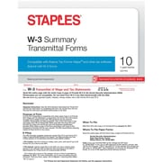 Staples 2016 Tax Forms, W-3 Summary Form, 10-Pack