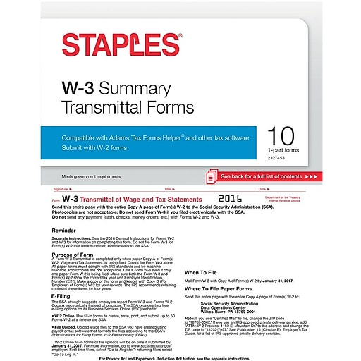 Staples 2016 Tax Forms W 3 Summary Form 10 Pack Staples