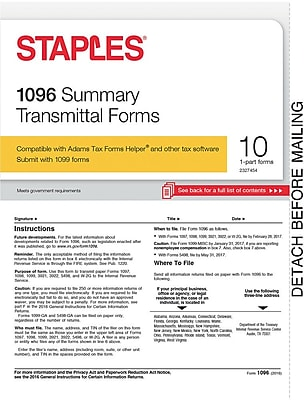 Staples 2016 Tax Forms, 1096 Summary Form, 10-Pack