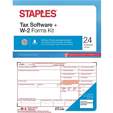 Staples 2016 Tax Forms, W-2 Tax Software Kit, 24-Pack