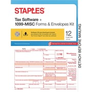 Staples 2016 Tax Forms, 1099-Misc Inkjet/Laser with Software & Envelopes, 12-Pack