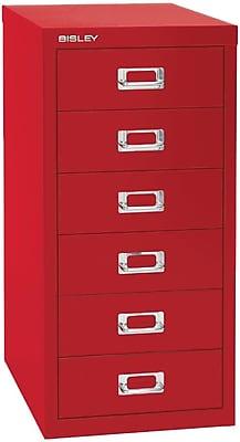 Bisley Six Drawer Steel Multidrawer, Red, Letter/A4 (MD6-RD)