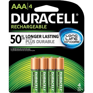Duracell® AAA Pre-Charged Rechargeable Batteries, 4/Pack