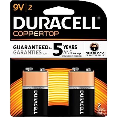 Duracell® Coppertop® 9V Alkaline Batteries, 2/Pack