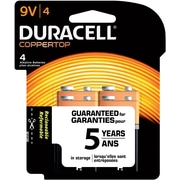 Duracell® Copper Top 9V Alkaline Battery, 4/Pack (MN154DW)