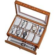 Mele & Co. Peyton Wooden Watch Box in Burlwood Oak Finish