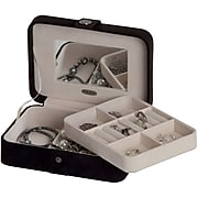 Mele & Co. Giana Plush Fabric Jewelry Box with Lift Out Tray in Black