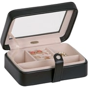 Mele & Co. Rio Faux Leather Glass Top Jewelry Box in Black