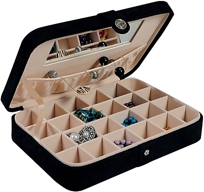 Mele & Co. Maria Plush Fabric Jewelry Box in Black