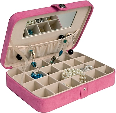 Mele & Co. Maria Plush Fabric Jewelry Box with Twenty-Four Sections in Pink