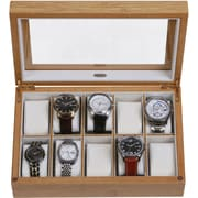 Mele & Co. Logan Glass Top Wooden Watch Box in Bamboo Finish