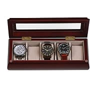 Mele & Co. Emery Glass Top Wooden Watch Box in Cherry Finish