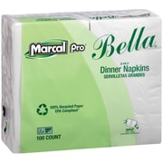 Marcal® PRO™ 100% Recycled Bella® Dinner Napkins, 2-Ply, White, 3000/Carton (6410)