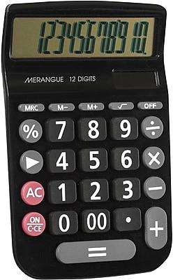Merangue 12 Digit Desktop Calculator Black with Dual Power