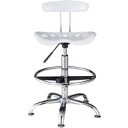 OneSpace Plastic Tractor Seat Drafting Stool, White (60-101601)