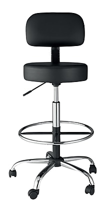 OneSpace Leather Drafting Stool, Black (60-1018)