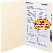 Smead® Fastener File Folder, 1 Fastener, Reinforced Straight-Cut Tab, Manila, 50/Box