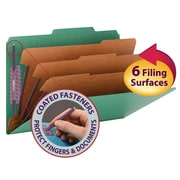 "Smead® Pressboard Classification Folder w/SafeSHIELD® Fasteners, 3 Dividers, 3"" Exp, Legal Size, 10/Box"