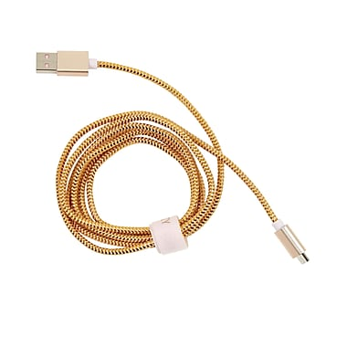 Cynthia Rowley, Nylon Braided Micro USB Charge & Sync Cable,5 feet, Taupe/Gold with Cable Organizer Wrap (CR-ST-CT1106TD)