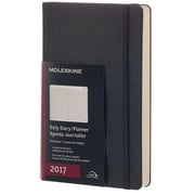 """2017 Moleskine® Daily Planner, 12 Month, 5"""" x 8.25"""",  Black Hard Cover, Large (893205)"""