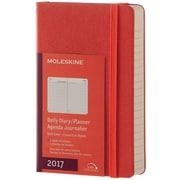 "2017 Moleskine® Daily Planner, 12 Month, 3.5"" x 5.5"", Coral Orange Hard Cover, Pocket (894004)"