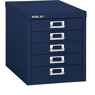 Bisley – Classeur en acier à 5 tiroirs, bleu marine, lettre/A4 (MD5-NV)