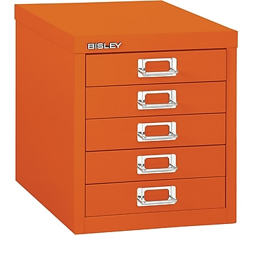 Bisley – Classeur en acier à 5 tiroirs, orange, lettre/A4 (MD5-OR)