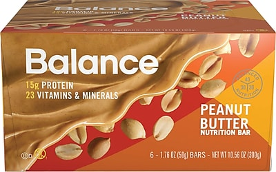 Balance Bar® Peanut Butter Bar, 1.76 oz., 6/Bx